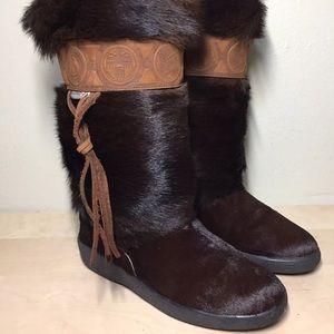 Pajar Fox Fur/Calf Hair Brown Calf Boots Apres Ski